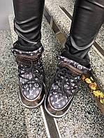 Женские луноходы MoonBoot Guc!/Louis Vuitton кожаные черные+сталь, размер 36-40