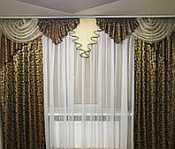 Ламбрекен со шторами для зала, гостиной, спальни Алисия (шоколад)