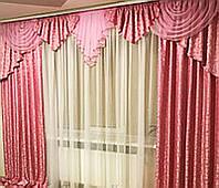 Ламбрекен со шторами для зала, гостиной, спальни Алисия (розовый)