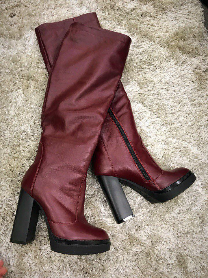 07a322cc68f1 Женские сапоги Bjork Elit кожаные на каблуке, еврозима, цвет марсала,  размер 36-