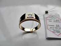 Мужское кольцо с эмалью и фианитом  4.57 грамма  20 р. ЗОЛОТО 585 пробы