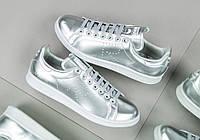 Женские серебристые кроссовки Raf Simons x Adidas Stan Smith Metallic Silver, фото 1