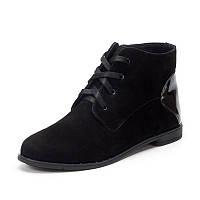 Женские чёрные ботинки весенне осенние из натуральной замши на подошве с низким каблучком