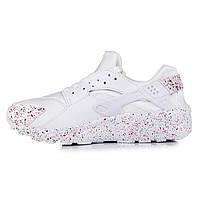 Красивые белые кроссовки Nike Huarache White/Black Spark