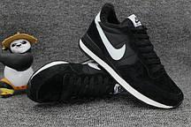 Жіночі стильний кросівки Nike Internationalist Black/White З ХУТРОМ