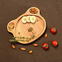 Детская деревянная тарелочка в виде мишки