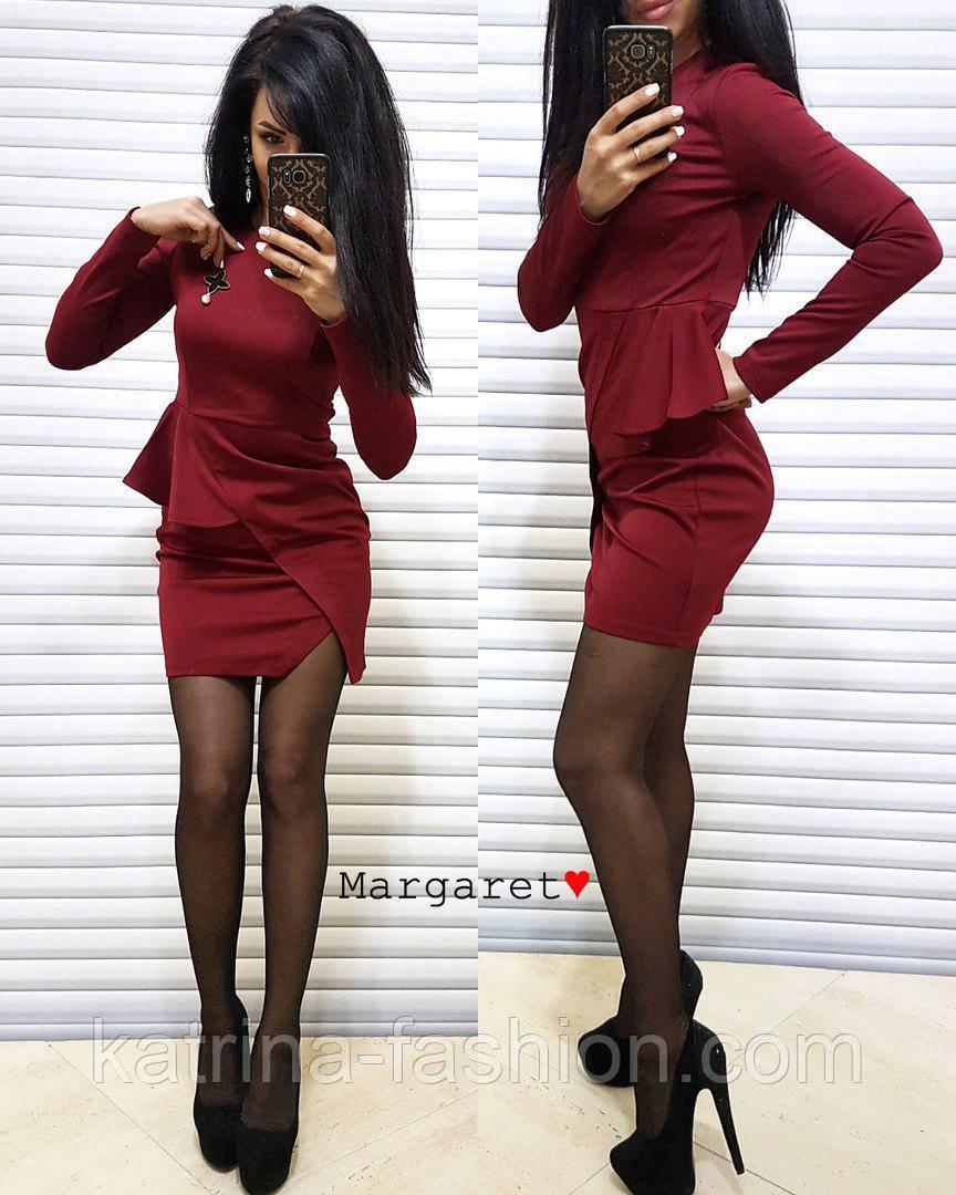 Женское красивое платье с брошью (3 цвета)