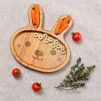 Детская деревянная тарелочка в виде зайки
