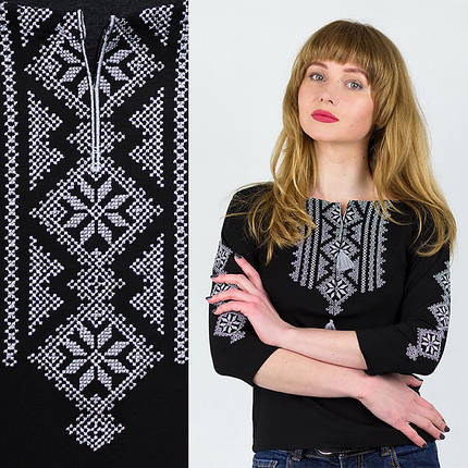 Женская вышитая футболка рукав три четверти Ромбы, фото 2