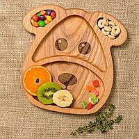 Детская деревянная тарелочка в виде собачки