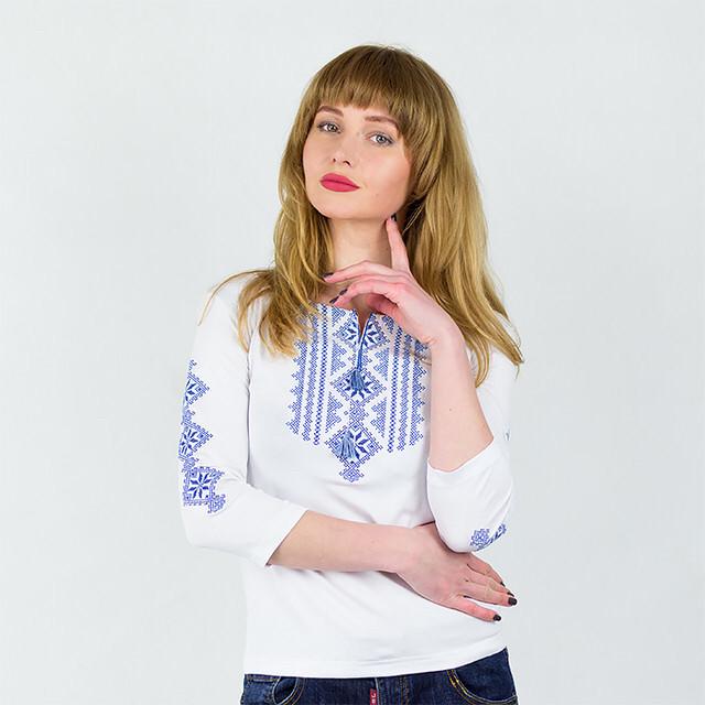 Вышитая футболка рукав три четверти Ромбы