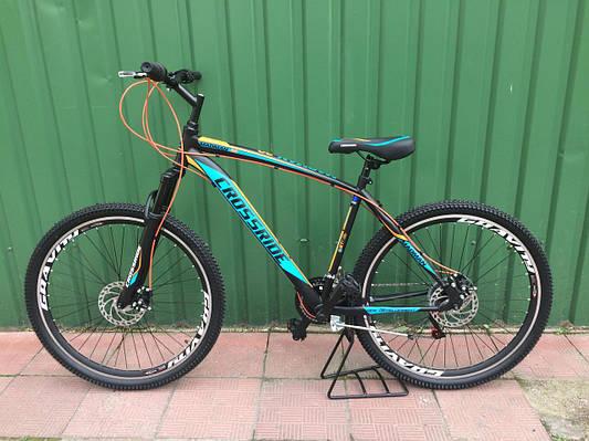 """Горный велосипед CROSSRIDE MAD MAN 27,5"""" 19""""  Черный/Голубой/Оранжевый"""