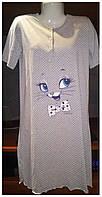 Ночная рубашка в горошек серая, 95%Хлопок,5%лайкра