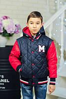 Куртка-жилетка «Марс-1» весенне-осенняя для мальчика 7-8 лет (размер 32-34 / 122-128) ТМ MANIFIK Темно-синий+красный