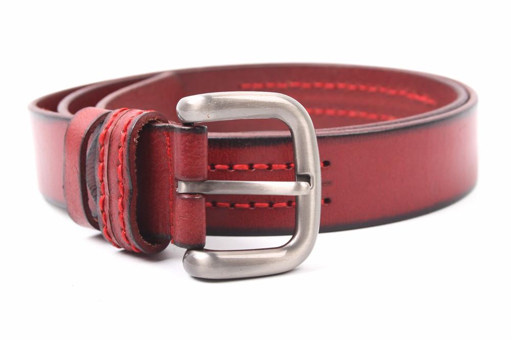Ремень женский джинсовый, цвет красный, натуральная кожа (длина 125 см, ширина 3 см)