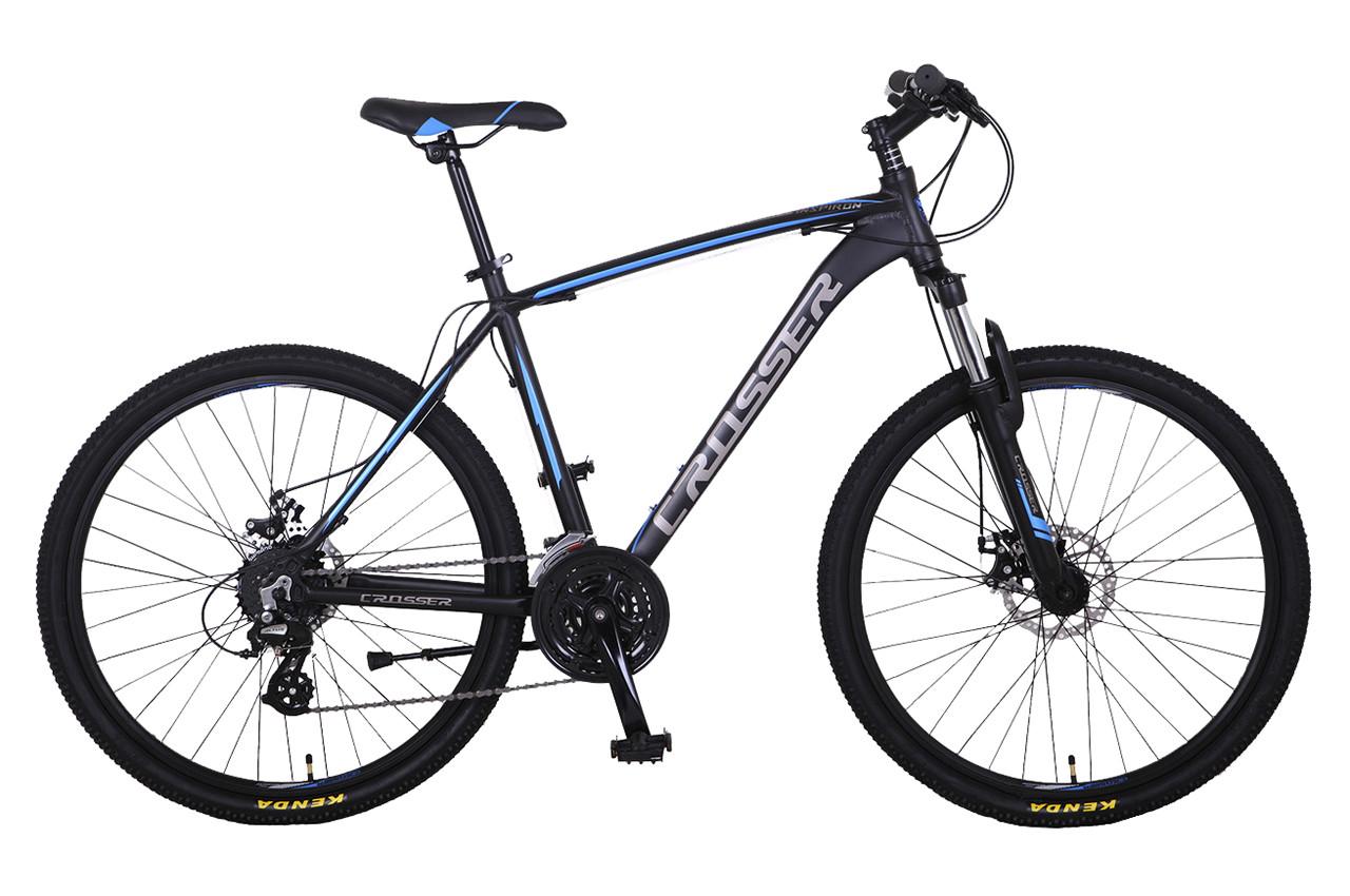 """Горный велосипед Crosser INSPIRON 29"""" алюминиевый с дисковыми тормозами, Черно-голубой"""