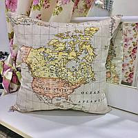 "Декоративная подушка 45х45 ""Карта мира"": съемная наволочка, наполнитель холлофайбер"