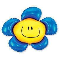 Фольгированные шары мини-фигуры Цветок синий