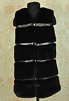 Купить детскую меховую жилетку черную оптом и в розницу Украина 6, 8, 9 лет