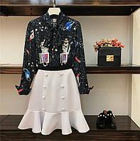 Женский костюм юбка котон и блузка креп шифон
