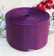 Лента шелковая 5 см, цвет баклажановый