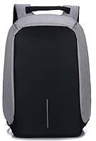 """Городской рюкзак антивор под ноутбук 15,6"""" Бобби Bobby с USB серо-черный"""