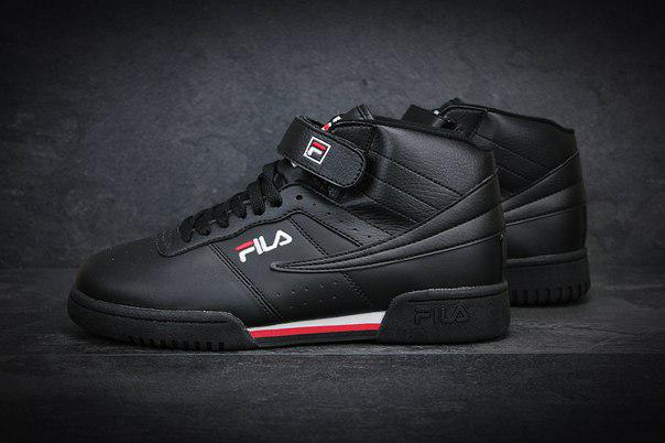 143294ad Черные кожаные кроссовки в стиле Fila Original Fitness Premium высокие