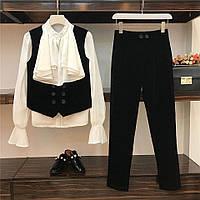 Женский костюм тройка блуза шифон, желет и брюки хлопок с добавкой