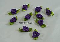 Маленькая тканевая розочка фиолетовая 1.3см*2см(1 упаковка 10розочек)