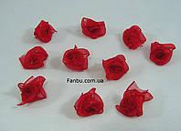 Декоративная розочка из органзы,красная 1.8см(1 уп.10розочек), фото 1