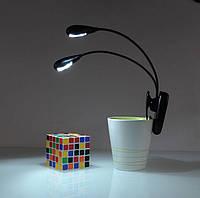 Портативная мини лампа для чтения книг на клипсе, 4 LED светодиода, 2 головы