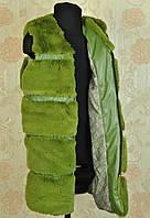 Жилетка меховая на молнии для девочки зеленая на 11, 13, 15 лет Запорожье