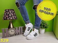 Сникерсы суперстар белые с брендовыми значками, фото 1