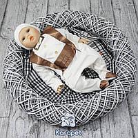 """Нарядный трикотажный комбинезон 62 р. для младенца  """"Фрак"""" (шоколад)"""
