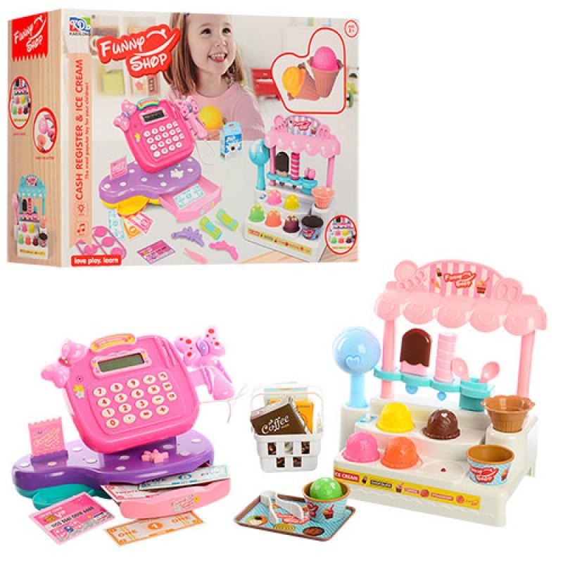 Большой Игровой набор Мой Магазин Мороженого, прилавок, кассовый апарат,  продукты, музыка, свет, KDL888-15