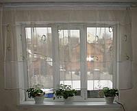 Тюль молочная  с оливковыми вставками овалы, фото 1
