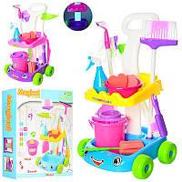 Детский Игровой набор для уборки - тележка, ведро, щетки, швабра, 628-1