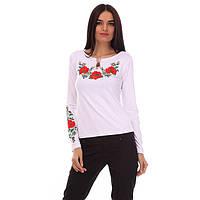 Трикотажная футболка длинный рукав с цветами Маковое поле