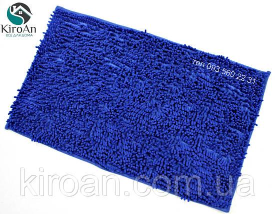 Синий коврик из микрофибры Лапша (макароны) 49х79см Синий, фото 2