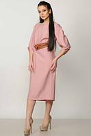 Платье женское Меган c ремнем розовое