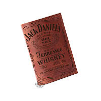 """Коричневая кожаная обложка-тревел """"Jack Daniels"""", бренди"""
