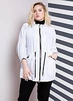 Ветровка модная женская свободного кроя большого размера белого цвета (54, 56, 58, 60, 62, 64, 66, 68, 70)