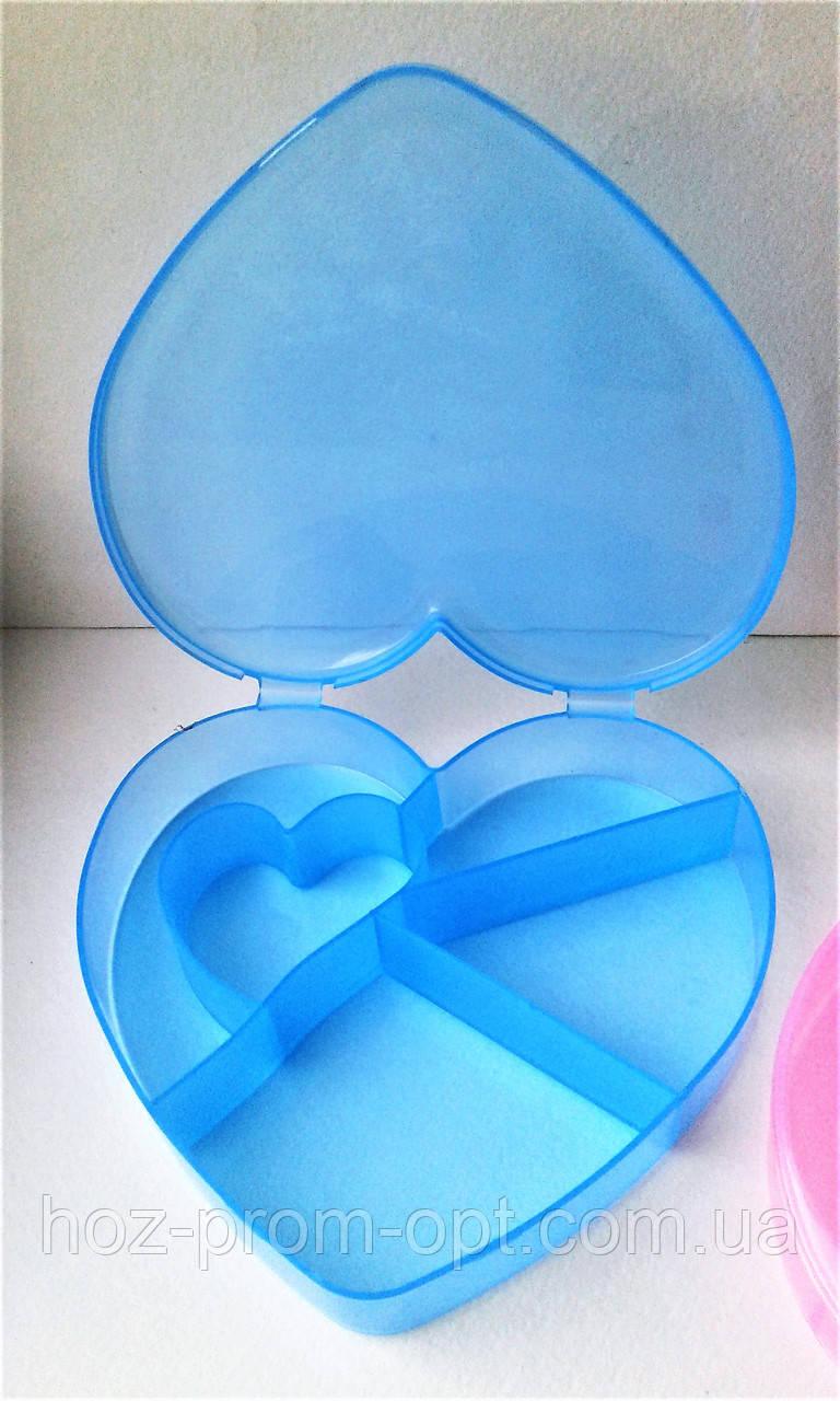 """Ячейки для рукоделия """"Сердце"""" 5 отделений."""