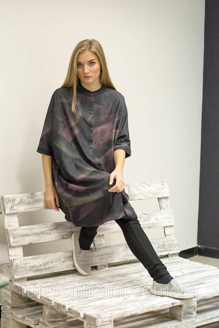 Платье - рубашка из джинса с фиолетовыми разводами