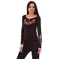 Женская футболка длинный рукав с цветами Маковое поле