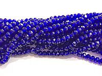 Бусина стекло, гранёнка, хрусталь, синий, 6 мм