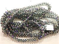 Бусина стекло, гранёнка, хрусталь, фиолетовый, 6 мм