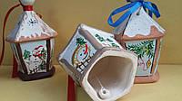 Колокольчик в виде фонарика, керамика, ручная роспись, выс. 11 см., 35 гр.