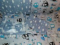 """Детское постельное белье """"Совы""""серо-голубые, 9 предметов!"""