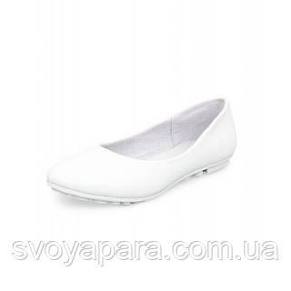 Балетки женские кожаные белого цвета на термопластичной подошве